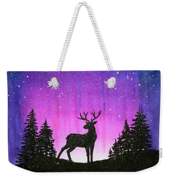 Winter Forest Galaxy Reindeer Weekender Tote Bag