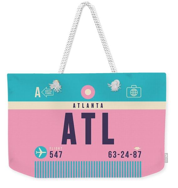 Retro Airline Luggage Tag - Atl Atlanta Weekender Tote Bag