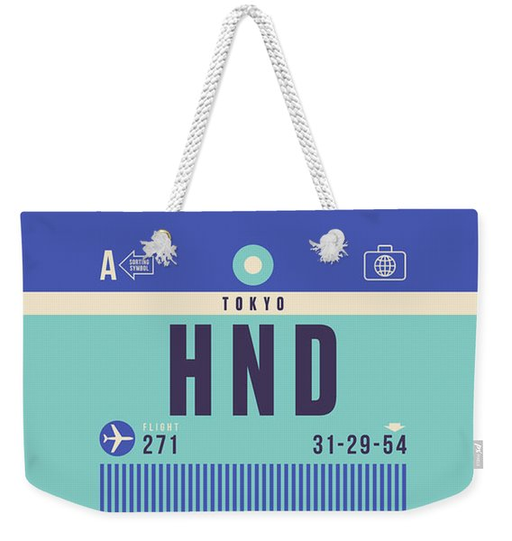 Retro Airline Luggage Tag - Hnd Tokyo Haneda Japan Weekender Tote Bag