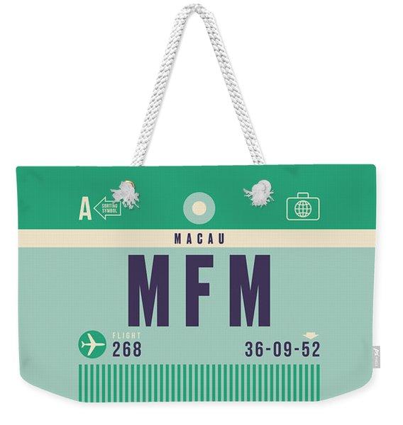 Retro Airline Luggage Tag - Mfm Macau Weekender Tote Bag