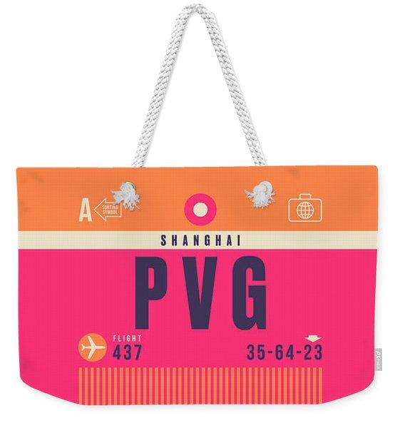 Retro Airline Luggage Tag - Pvg Shanghai China Weekender Tote Bag