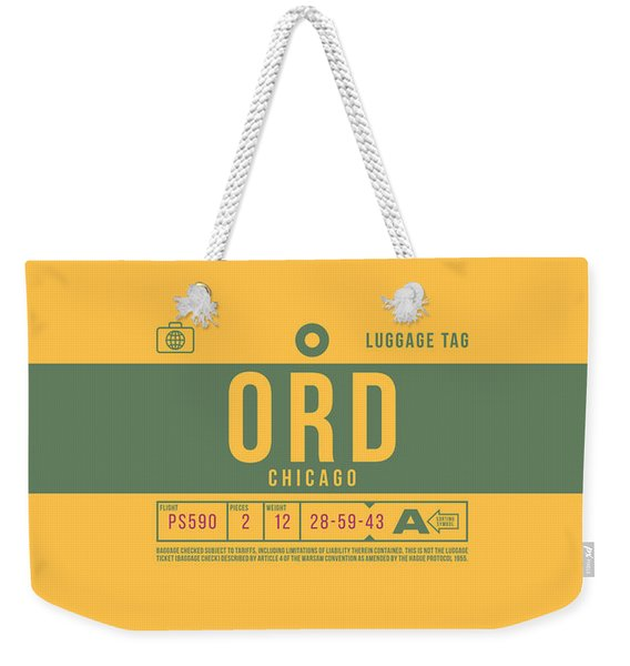 Retro Airline Luggage Tag 2.0 - Ord Chicago O'hare Airport United States Weekender Tote Bag