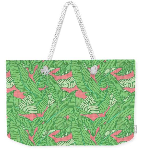 Banana Leaf Pattern Pink Weekender Tote Bag