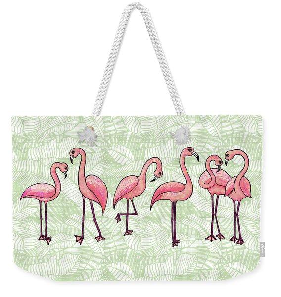 Tropical Flamingos Weekender Tote Bag