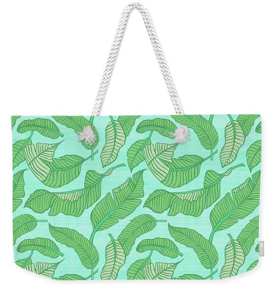 Banana Leaf Pattern Blue Weekender Tote Bag