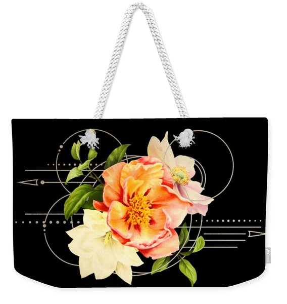 Weekender Tote Bag featuring the digital art Floral Abstraction by Bee-Bee Deigner