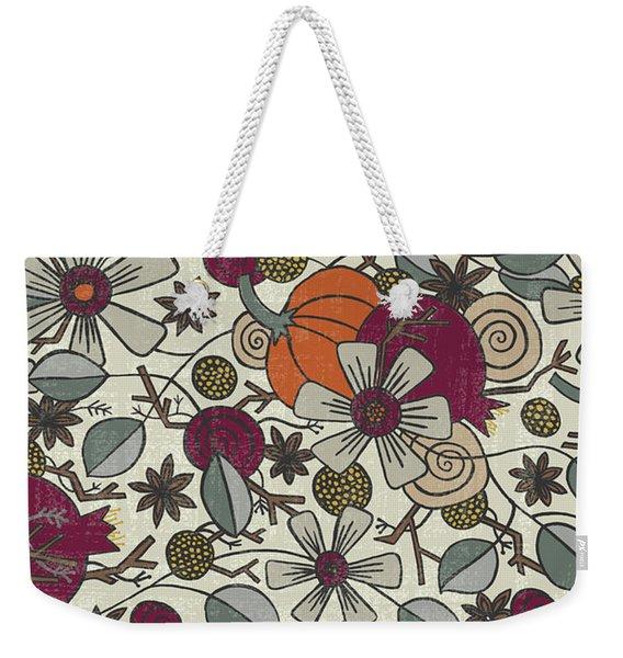 Fall Botanical Art Cream Background Weekender Tote Bag