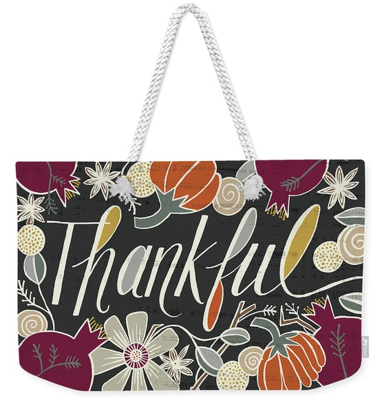 Thankful Fall Art Black Background Weekender Tote Bag