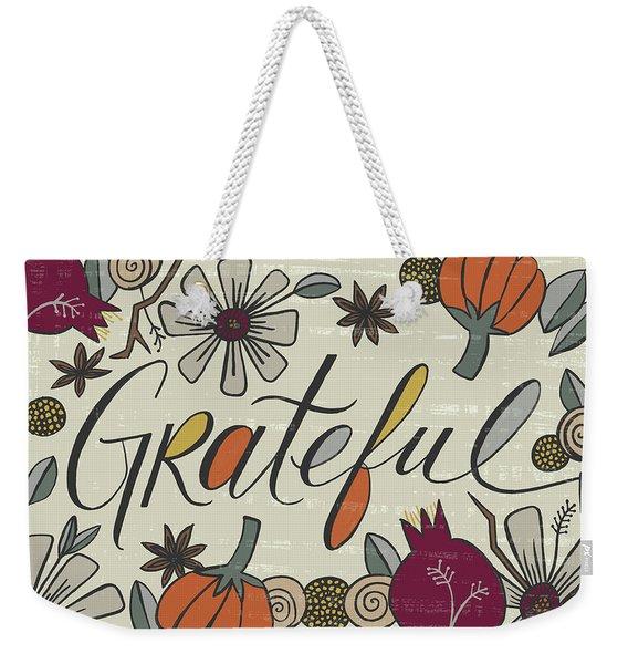 Grateful Fall Art Cream Background Weekender Tote Bag