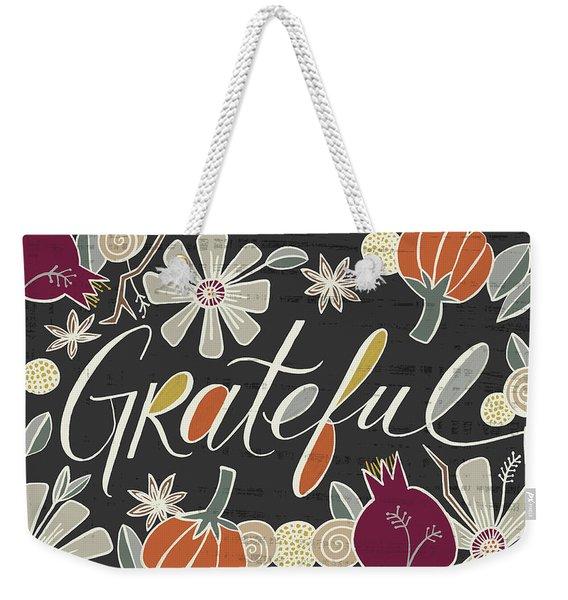 Grateful Fall Art Black Background Weekender Tote Bag