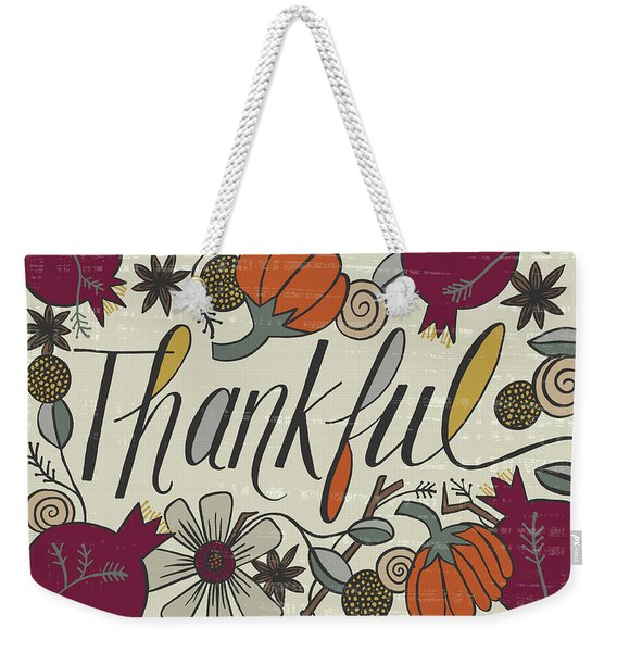Thankful Fall Art Cream Background Weekender Tote Bag
