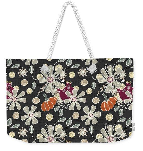 Fall Pumpkin Botanical Pattern Black Background Weekender Tote Bag