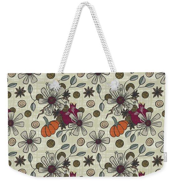 Fall Pumpkin Botanical Pattern Cream Background Weekender Tote Bag