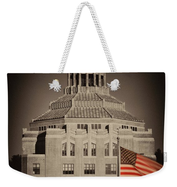 Asheville City Hall Sepia Weekender Tote Bag