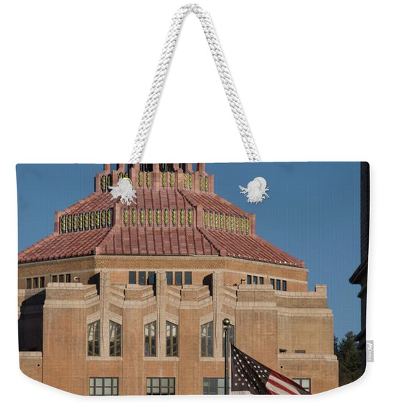 Asheville City Hall With Flag Weekender Tote Bag