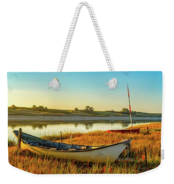 Weekender Tote Bag featuring the photograph Boats In The Marsh Grass, Ogunquit River by Jeff Sinon