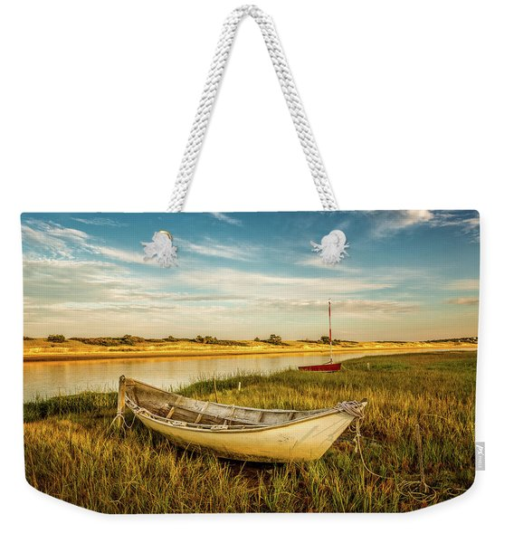 Weekender Tote Bag featuring the photograph Ashore by Jeff Sinon