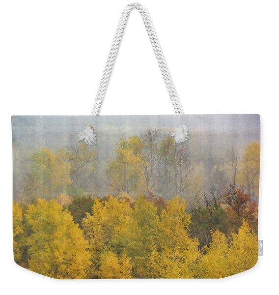 Aspen Trees In Fog Weekender Tote Bag