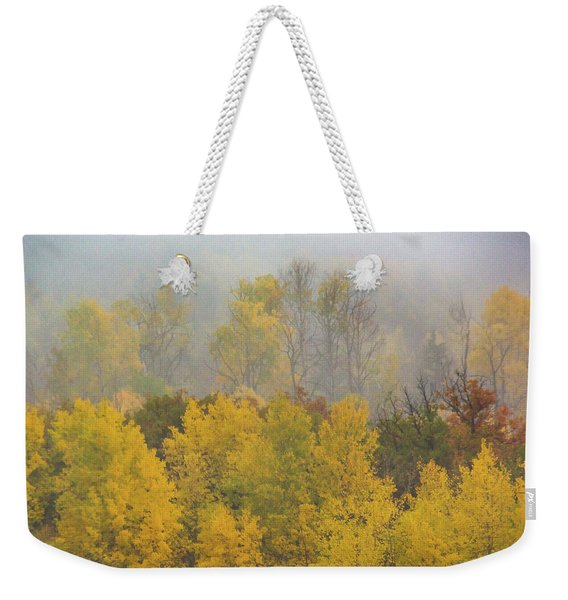 Weekender Tote Bag featuring the photograph Aspen Trees In Fog by John De Bord