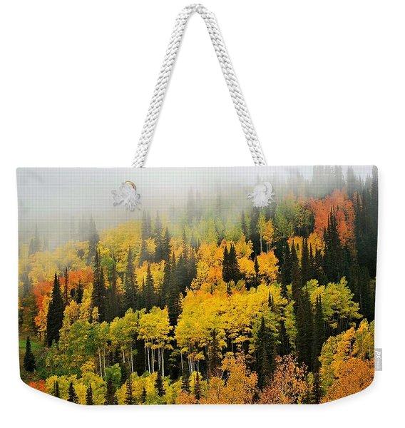 Aspens In Fog Weekender Tote Bag