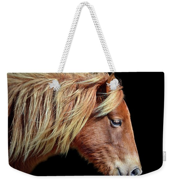 Assateague Pony Sarah's Sweet Tea Portrait On Black Weekender Tote Bag