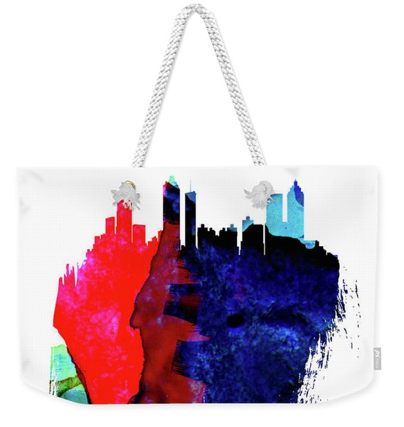 Atlanta Skyline Brush Stroke Watercolor   Weekender Tote Bag