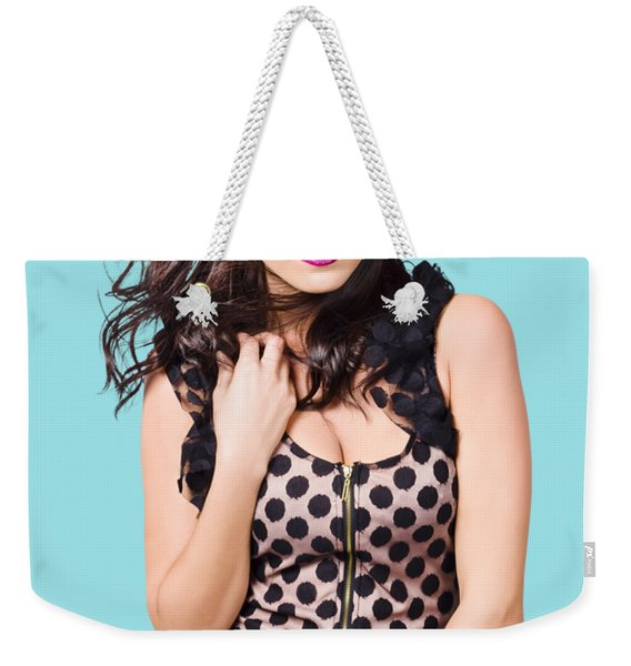 Attractive Vogue Fashion Model With Windblown Hair Weekender Tote Bag