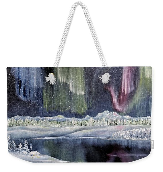 Weekender Tote Bag featuring the painting Aurora Borealis by Deleas Kilgore