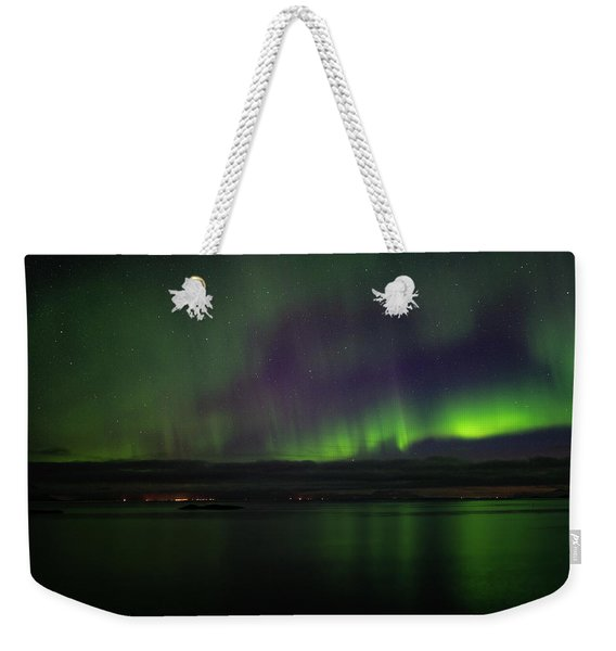 Aurora Borealis Reflecting At The Sea Surface Weekender Tote Bag