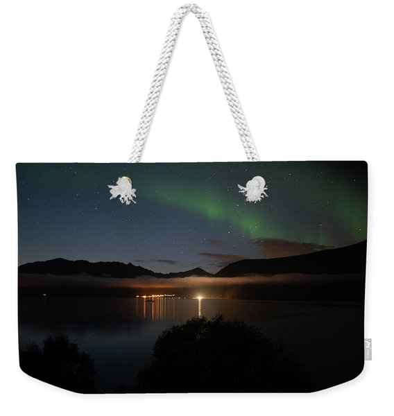 Aurora Northern Polar Light In Night Sky Over Northern Norway Weekender Tote Bag