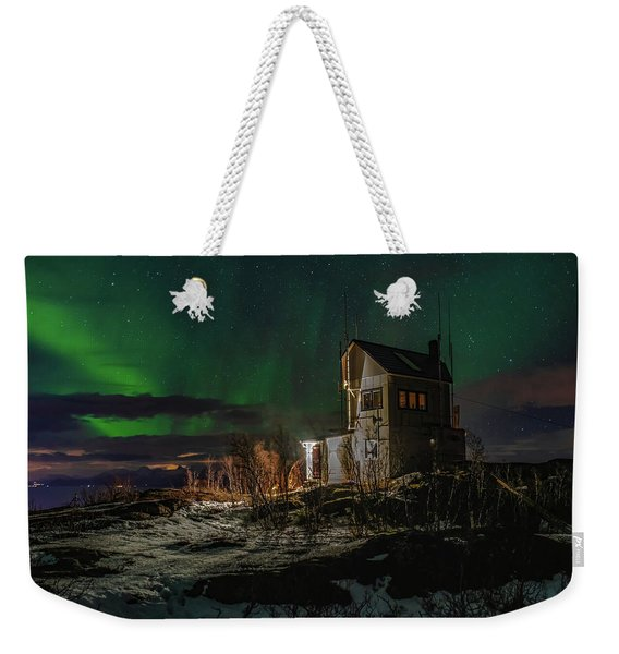 Aurora Over The Radio Station Weekender Tote Bag