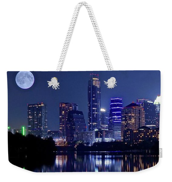 Austin At Lady Bird Lake With Moon Weekender Tote Bag