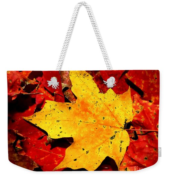 Autumn Beige Yellow Leaf On Red Leaves Weekender Tote Bag