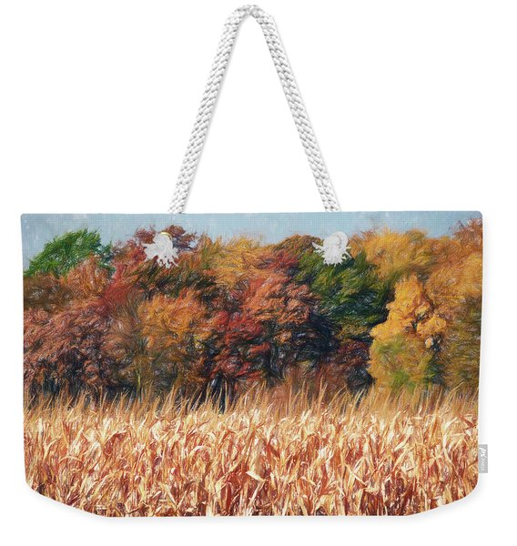 Weekender Tote Bag featuring the digital art Autumn Cornfield by Don Northup