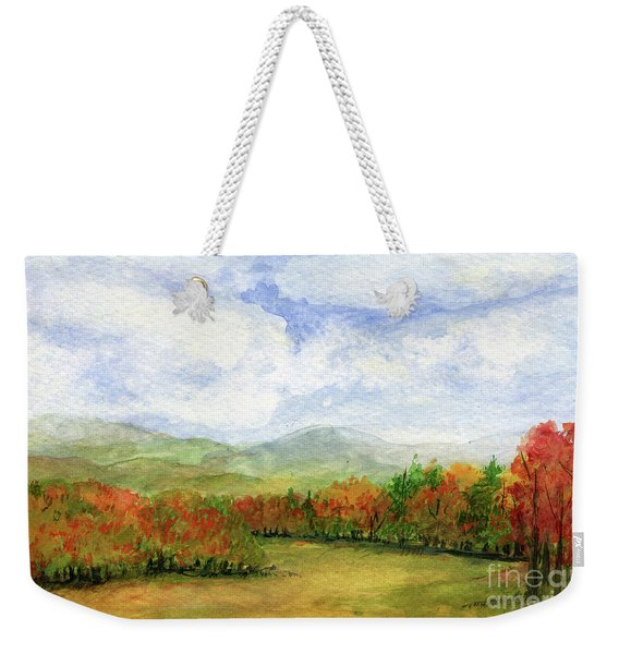 Autumn Day Watercolor Vermont Landscape Weekender Tote Bag
