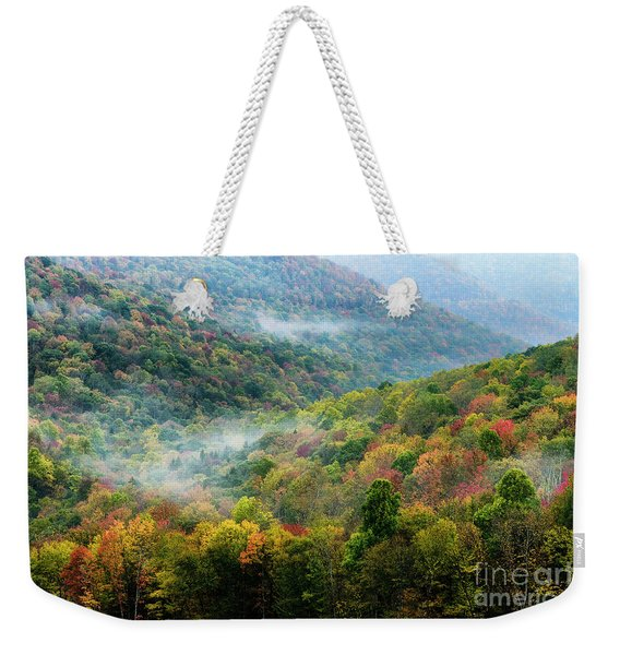 Autumn Hillsides With Mist Weekender Tote Bag