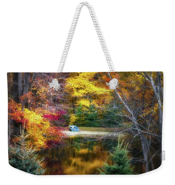 Autumn Pond With Rowboat Weekender Tote Bag
