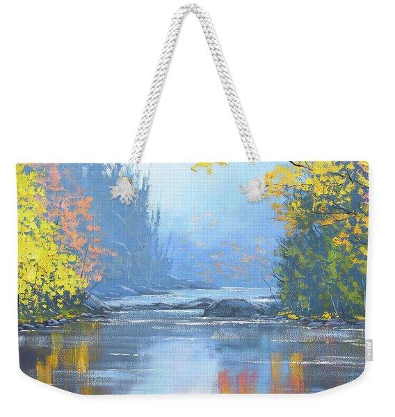 Autumn River Trees Weekender Tote Bag
