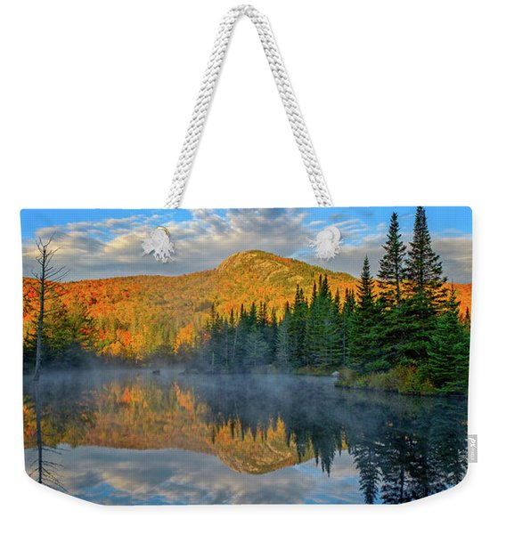 Weekender Tote Bag featuring the photograph Autumn Sky, Mountain Pond by Jeff Sinon