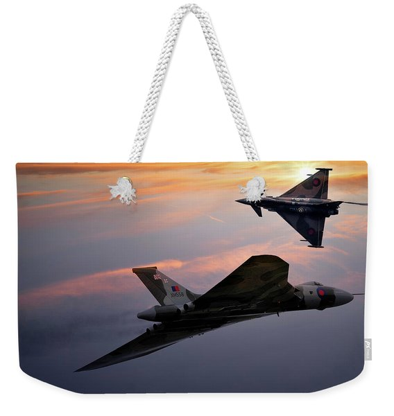 Avro Vulcan Xh558 And Eurofighter Typhoon Gina. Weekender Tote Bag
