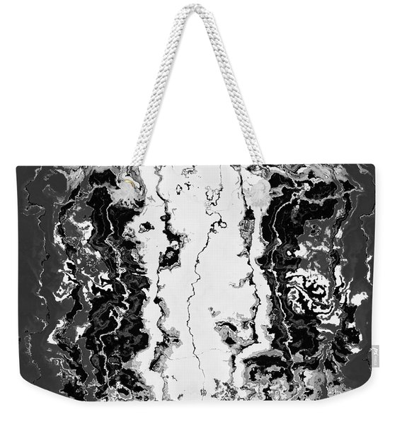 Weekender Tote Bag featuring the drawing B W Iner by A zakaria Mami