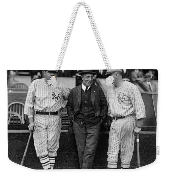 Babe Ruth And Jack Bentley 1923 Weekender Tote Bag