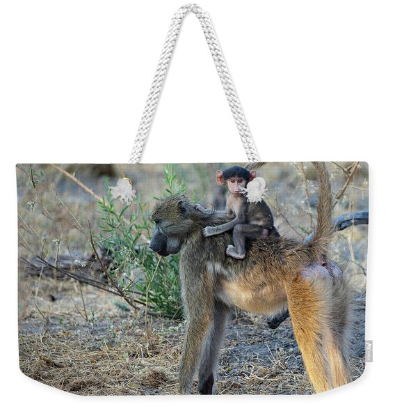 Baboon And Baby Weekender Tote Bag