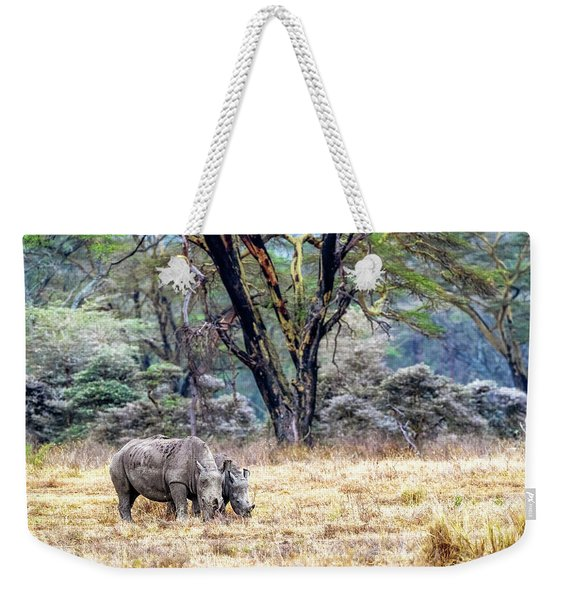 Baby And Parent White Rhino In Lake Nakuru Weekender Tote Bag