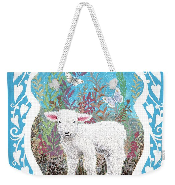 Baby Lamb With White Butterflies Weekender Tote Bag