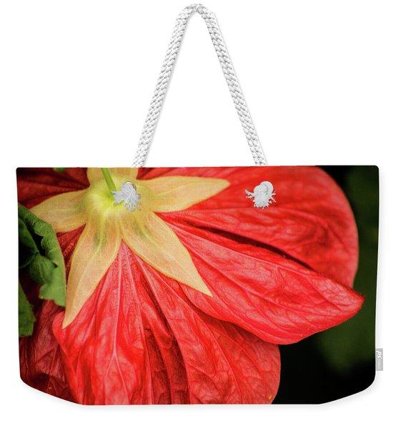 Back Of Red Flower Weekender Tote Bag
