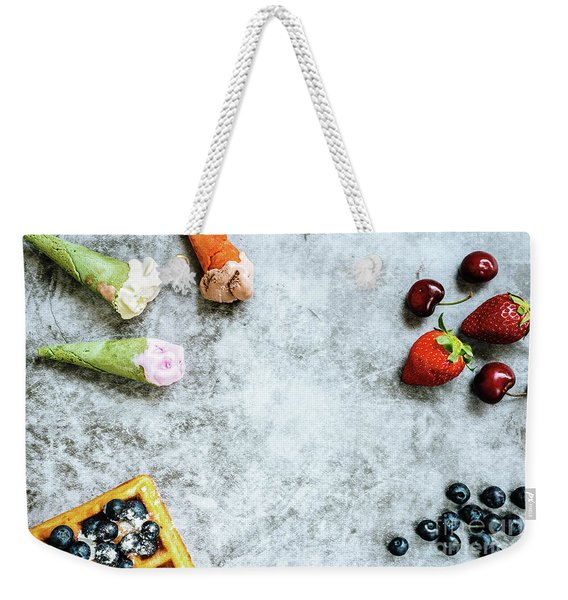 Background Of Tasty And Sweet Foods With Red Fruits And Waffles, Weekender Tote Bag