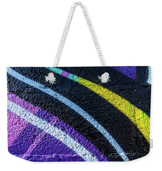 Background With Wall Texture Painted With Colorful Lines. Weekender Tote Bag