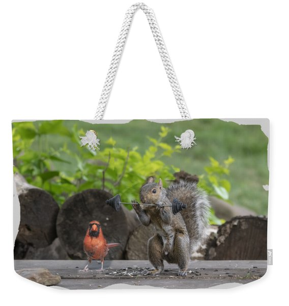 Backyard Squirrel Working Out With Trainer Weekender Tote Bag