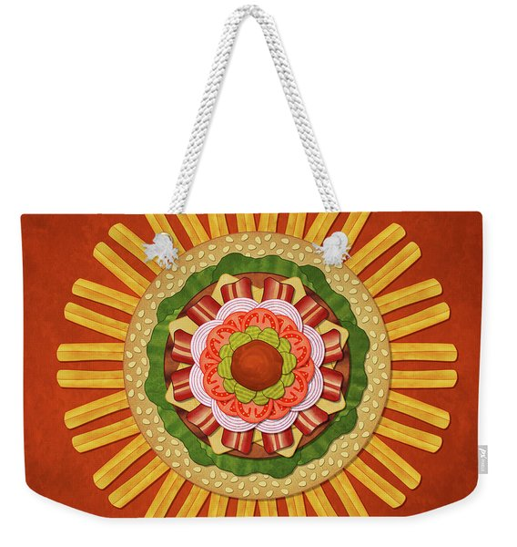 Bacon Cheeseburger With Fries Mandala Weekender Tote Bag